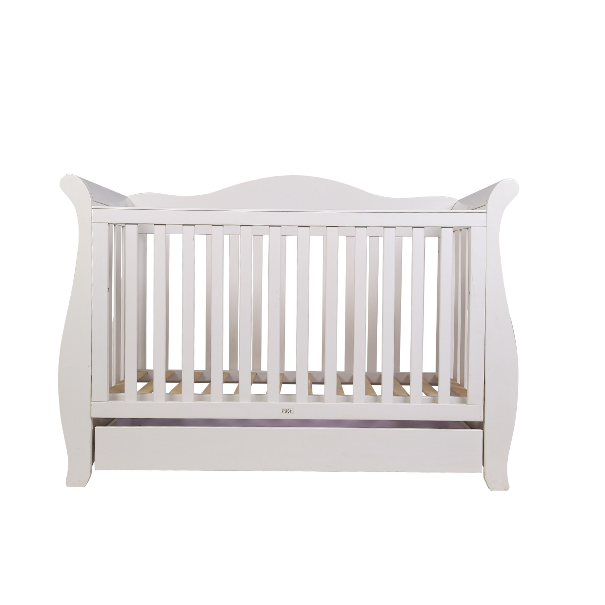 3 In1 White New Zealand Pine Royal Sleigh Baby Cot Crib